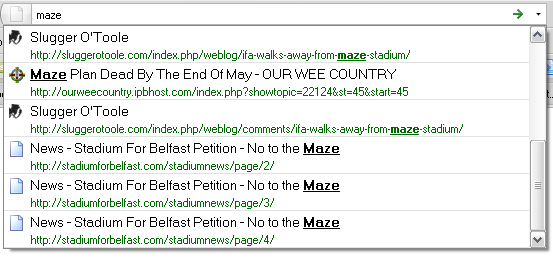 Illustration of Firefox 3 address bar search. The word maze returns all the sites that have