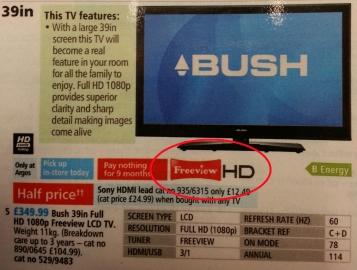"Photo of catalogue page showing ""Freeview"" and ""HD"" logos close together, side-by-side"