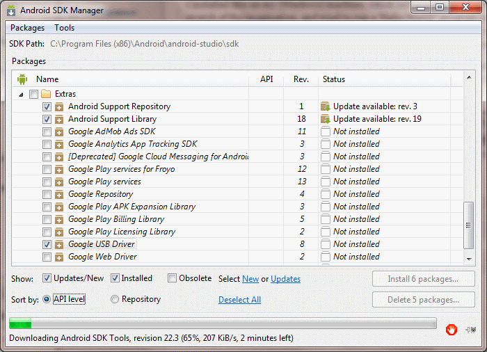 Screenshot of Android SDK Manager showing Google USB Driver listed under Extras