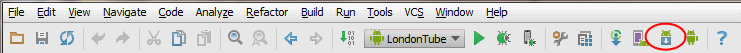 Screenshot of Android Studio toolbar highlighting SDK Manager button