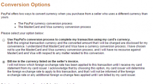 Screenshot of PayPal's currency Conversion Options screen