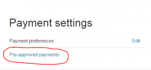 PayPal Pre-Approved Payments link